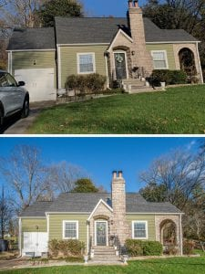 Two photos of the same house, brick with green siding