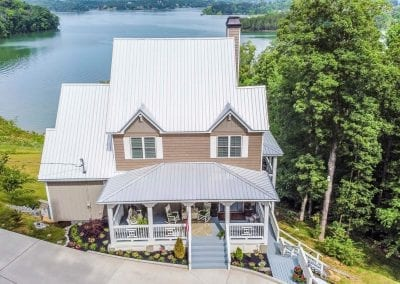 Aerial view of house on the water