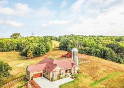 Aerial view of farmhouse