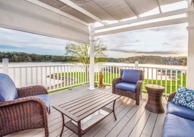 Outside porch with view of water