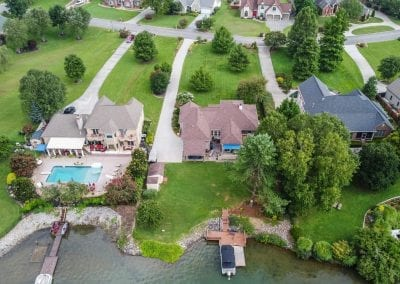 Aerial view of houses & boat docks