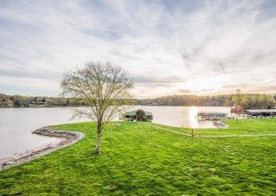 Lake and grass at sunset